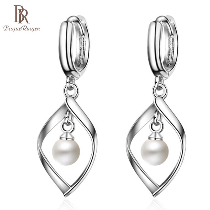 Bague Ringen Silver 925 Jewelry Drop Earring Long Sterling Silver With Round Natural Pearl  Fine Charm Jewelry Woman Party Gift