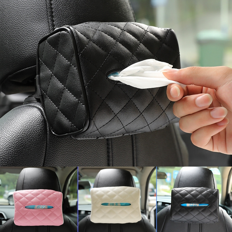 PU Leather Car Styling Tissue Box for Toyota Logo RAV4 Camry Corolla Yaris Prado Prius Sequoia Mr2 CHR Paper Holder Accessories