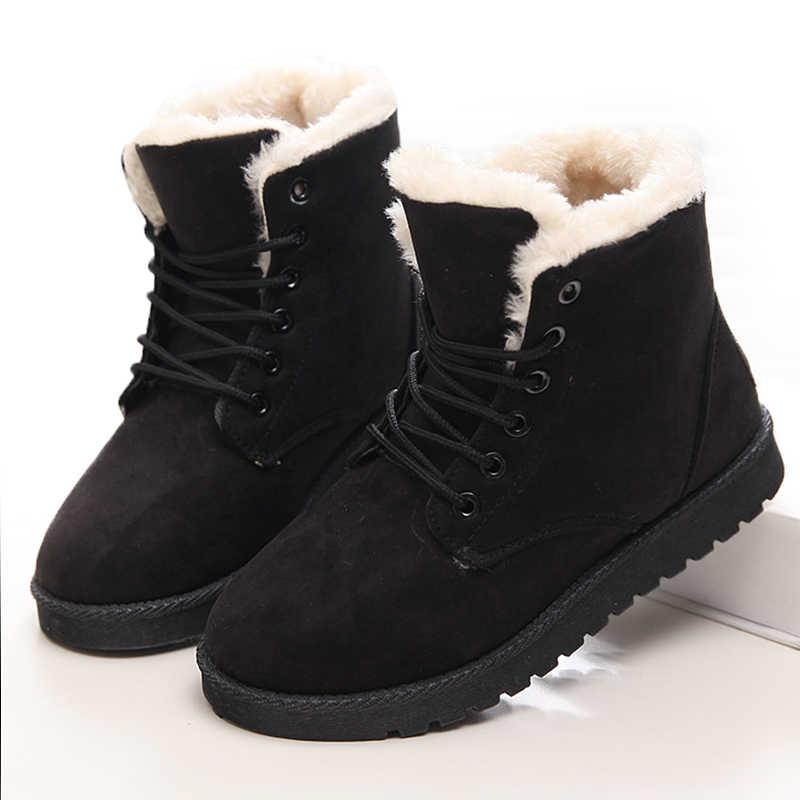 QUANZIXUAN חורף מגפי הגעה חדשה חם שלג מגפי אופנה נשים קרסול מגפי קטיפה מדרסים נשים מגפי זמש תחרה עד נשים נעליים