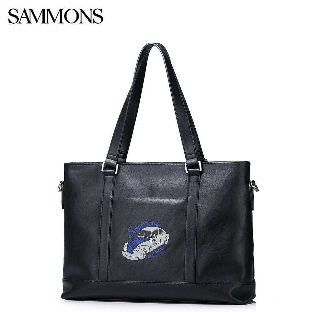 Бренд SAMMONS PU кожаная сумка тоут, повседневная дорожная сумка для ноутбука, большая емкость, мужские сумки