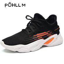 PUHLLMEuropean Station Flying Woven Sports Shoes Womens Breathable Wild Explosion sports Small White Running ShoesTideB58