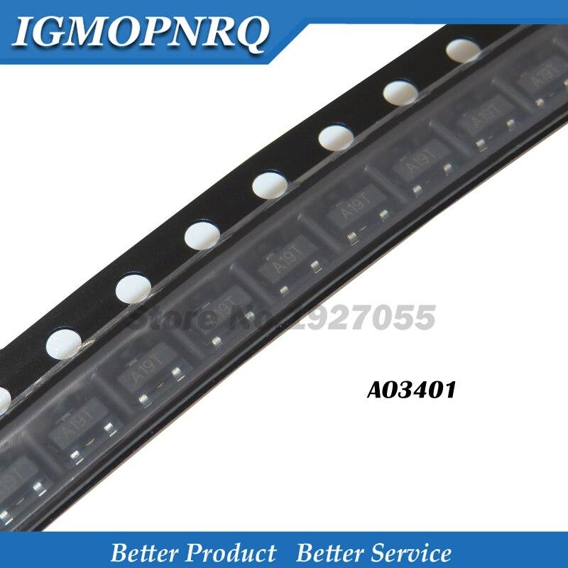 100PCS AO3401 SOT-23 SMD 3401 SOT23 New And Original A19T