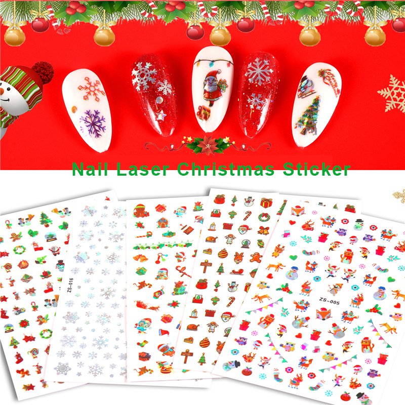 Best Promo 2ed5 3d Waterproof Nail Sticker Christmas Adhesive Nail Foil Flower Snowflake Santa Nail Stickers Decals Set Nail Art Decoration 2020 Cicig Co