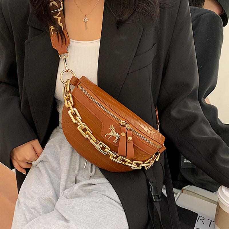 New Chain Fanny pack Women Leather Waist Bag Luxury Brand Chest pack Mini Female Belt Bags Fashion Ladies Shoulder Crossbody Bag
