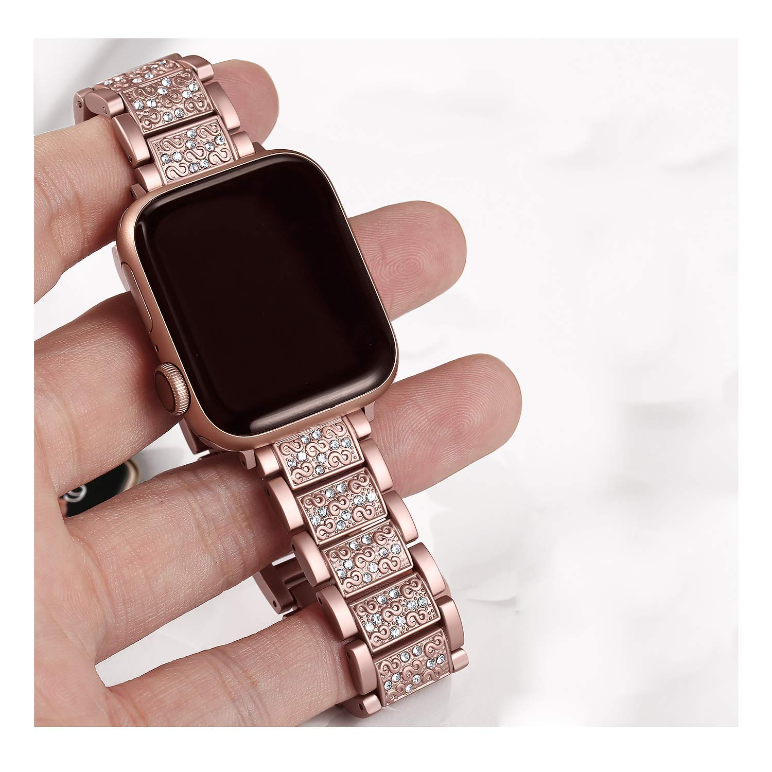 Diamond Strap For Apple Watch 38mm 42mm Metal Rhinestone Bling Replacement Wristband Women For Iwatch Band 40mm 44mm Series 5 4 Watchbands Aliexpress