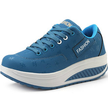 Platform Sneakers For Women Leather Sports Shoes Lady Blue W