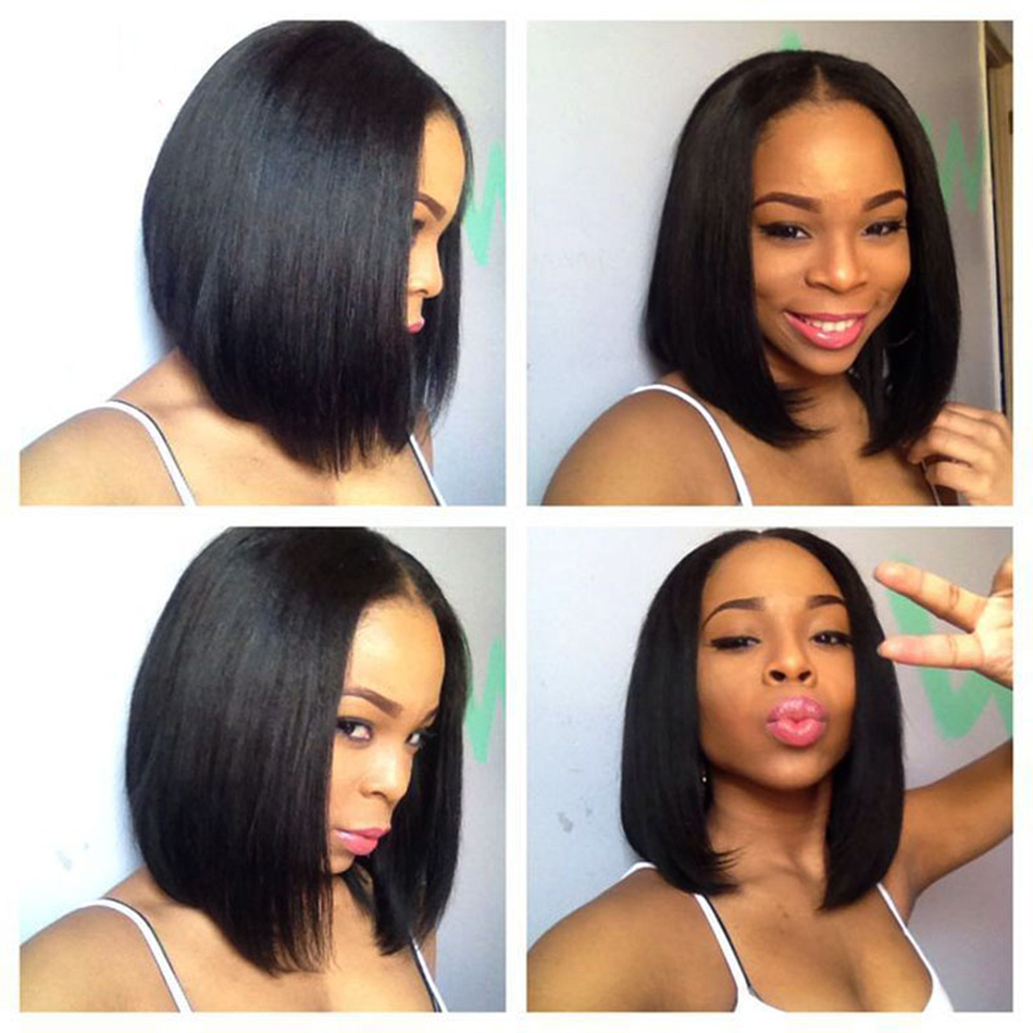 Short Lace Closure Wigs Bob Straight Human Hair Wigs For Black Women Brazilian Wig 150% Perruque Cheveux Humain Wig Full Hd