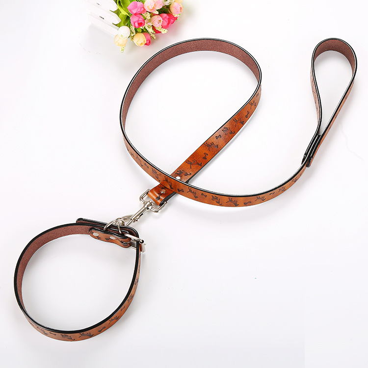 New Style Pet Dog Genuine Leather Printed Bone Neck Ring Haulage Rope Package Hot Sales
