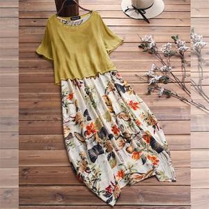 Image 5 - Cotton Linen Vintage Print Elegant Long Party Dresses Vestidos New Fashion Dress Women Loose Casual Robe Femme Plus Size 5XL