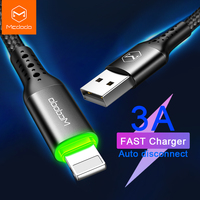 Mcdodo 3A de potencia inteligente rápido cable para iPhone Cable USB para iPhone 11 12 Pro Xs Max XR 8X8 7 6 6s Plus, iPad cargador de Cable de datos