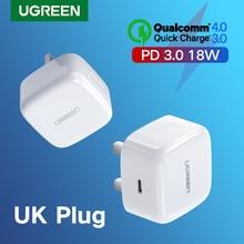 شاحن UgreenUgreen سريع الشحن 4.0 3.0 QC UK PD شاحن 18 وات QC4.0 QC3.0 USB Type C شاحن سريع لايفون 11 X Xs 8 شاحن PD للهاتف
