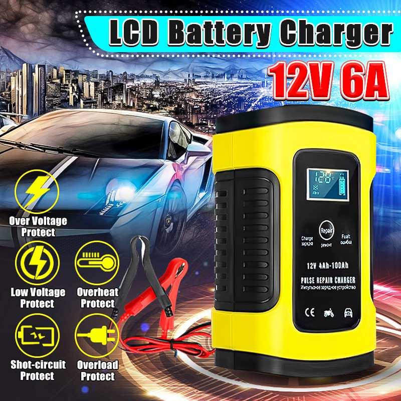 12 В 6А полностью автоматическое автомобильное зарядное устройство для ремонта импульсов зарядное устройство s влажная сухая свинцово-кисло...