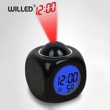 Night Light With Projector Digital Alarm Clock Lamp Voice Temperature Time Projection On Wall Ceiling For Home Table Decoration cheap Willed ROUND LED projection Night Lights Emergency 0-5W LED Bulbs Switch 4 5V Dry Battery Alarm Clock Night light Black