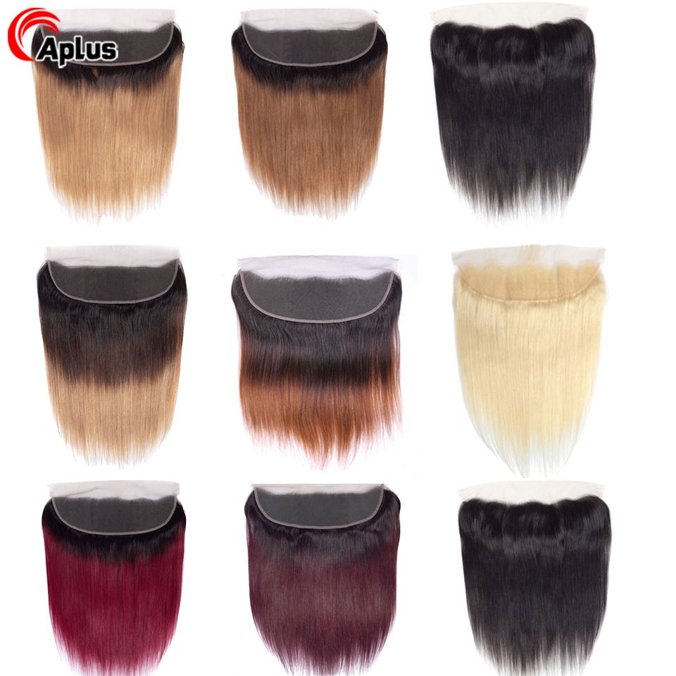 Aplus Ombre Brazilian Straight Lace Frontal Closure Ear To Ear Frontal Pre Plucked With Baby Hair 613 Burgundy 99J Remy Hair