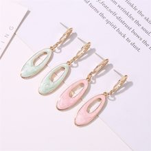 French Small Fragrance Geometric Earrings Korean Version of Temperament Simple Earrings Drop Oil Candy Oval Earrings(China)