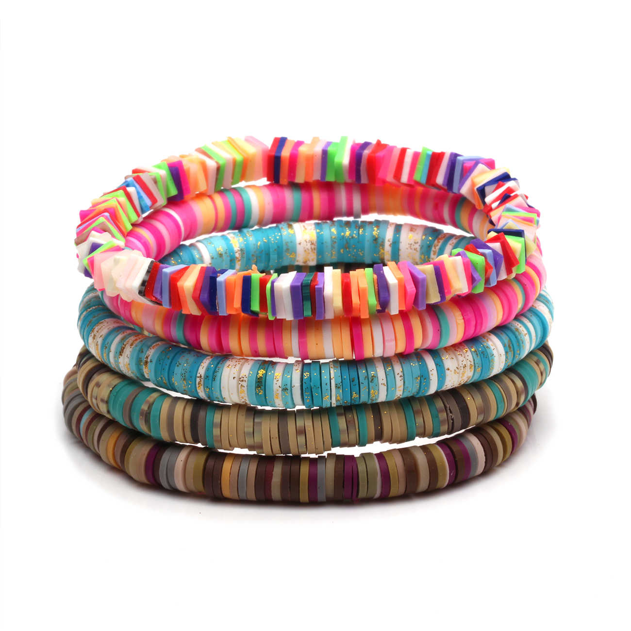 Coconut Wood Beads Bracelets African Style Vinyl Bracelets,Vinyl Stretch Bracelets,Wood Bracelets Disc Bracelets,Polymer Clay Bracelet
