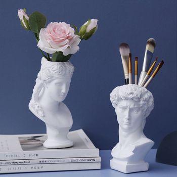 Resin Vase Home Decoration Makeup Brush Storage Box Pen Holder European Style Decoration David Head Sculpture Model Wedding 1