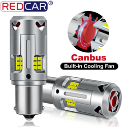 2Pcs With Fan P21W 1156 BA15S Led Bulb Canbus Error Free BAU15S PY21W T20 7440 W21W WY21W Car Turn Signal Lamp No Hyperflash 12V