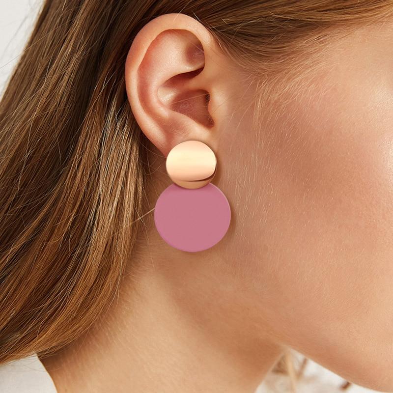 Korean Statement Round Dangle Drop Earrings for Women 2019 Fashion Jewelry Vintage...