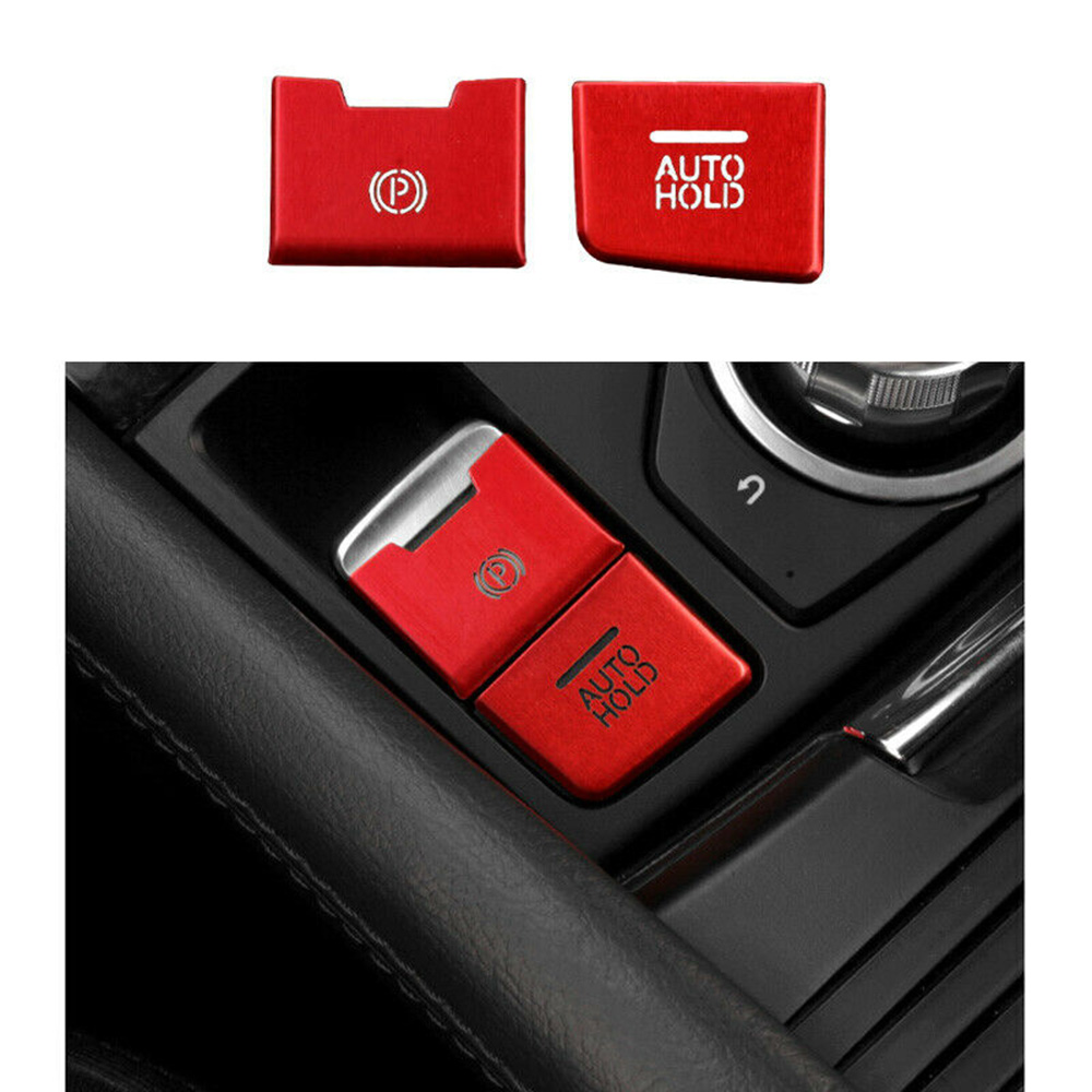 2Pcs Electronic Parking Hand Brake Knob Trim For <font><b>Mazda</b></font> <font><b>CX5</b></font> CX-5 2017-2019 Auto Vehicle Interior Mouldings image
