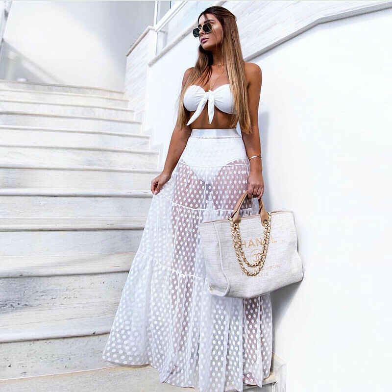 2019 New Hot Summer Fashion Latest Women Sexy Skirt High Waist See-Through Dot Transparent Long Maxi Skirt hot