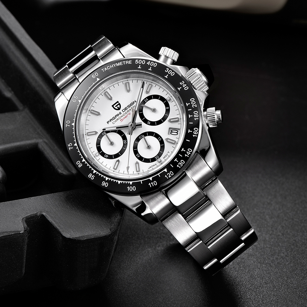 PAGANI Дизайн черный циферблат Многофункциональный кварцевый хронограф Тахиметр мужские часы - 6