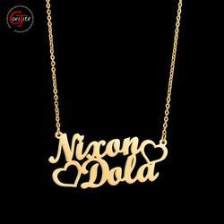Goxijite 2019 mode personnalisé en acier inoxydable 2 nom coeur collier pour les femmes personnalisé lettre or collier ras du cou cadeau
