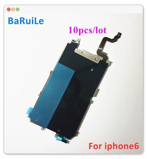 BaRuiLe شاشة LCD خلفية مع درع معدني لجهاز iPhone 6 Plus 6G ، لوحة خلفية ، زر الصفحة الرئيسية ، توسيع قطع غيار الكابلات المرنة ، 10 قطعة