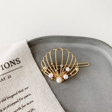 Pearls Shell Hollow Alloy Hair Clips
