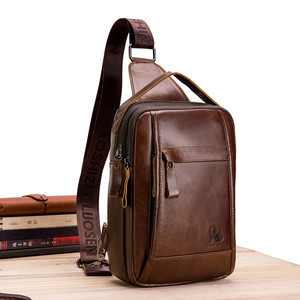 Image 2 - LAOSHIZI Brand Genuine Leather Top handle Handbag Men Chest Sling Pack Mens Shoulder Crossbody Bag Male Cowhide Messenger Bags
