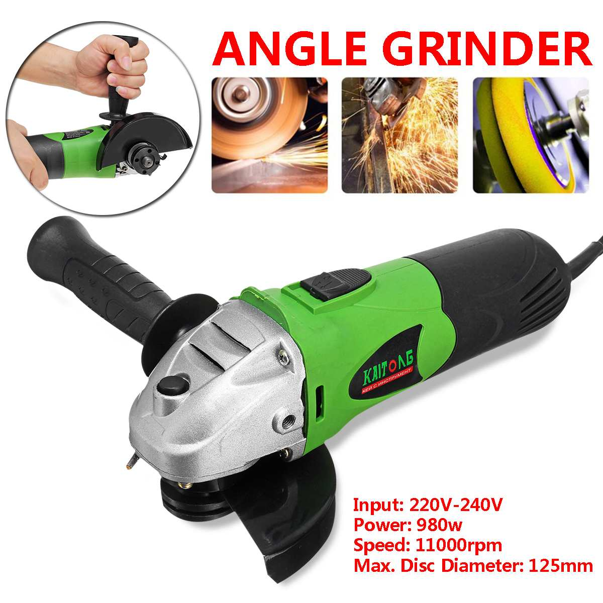 980W Powerful Electric Angle Grinder 11000RPM Grinding Machine Metal Cutting Tool 115-125mm Adjustable Anti-Slip Handle EU Plug