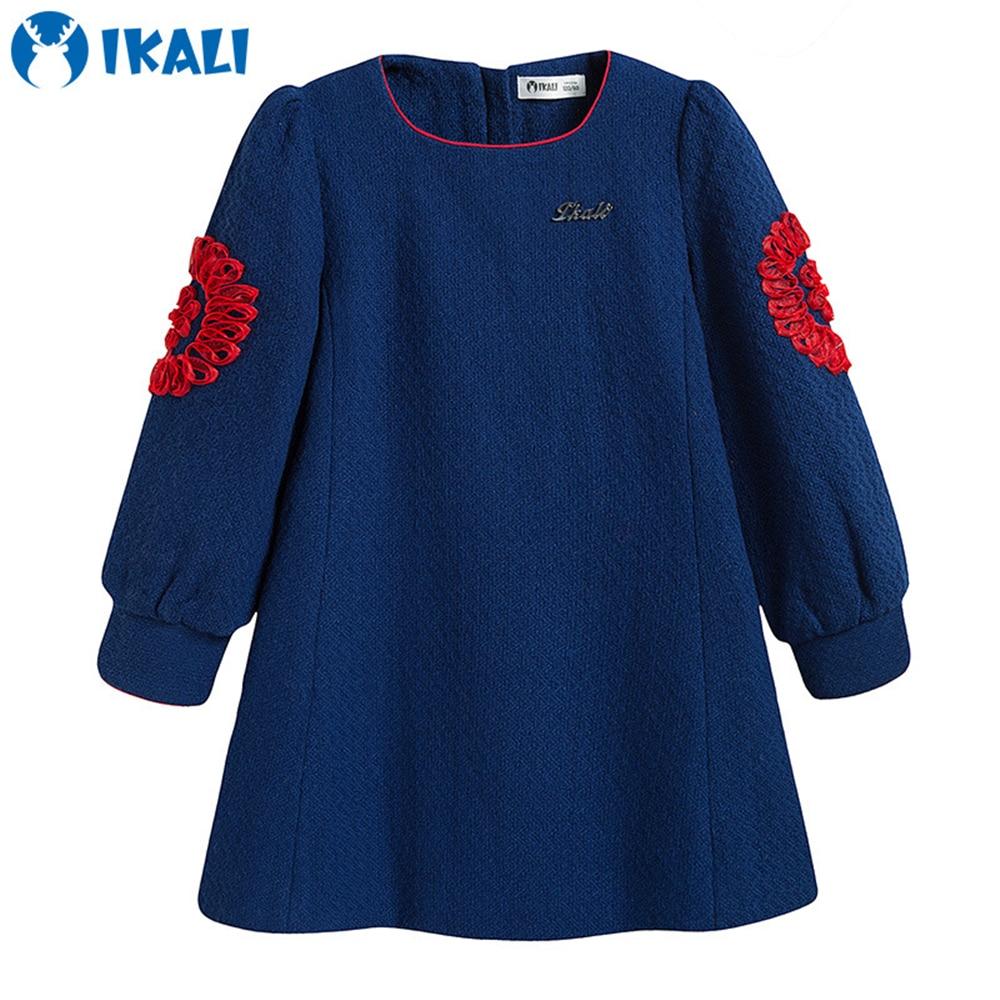 Long Sleeve Girls Dress 4-10 Years Springtime Autumn Girls Printed Flower Dresses Children Clothes Cotton Princes Dress for Girl