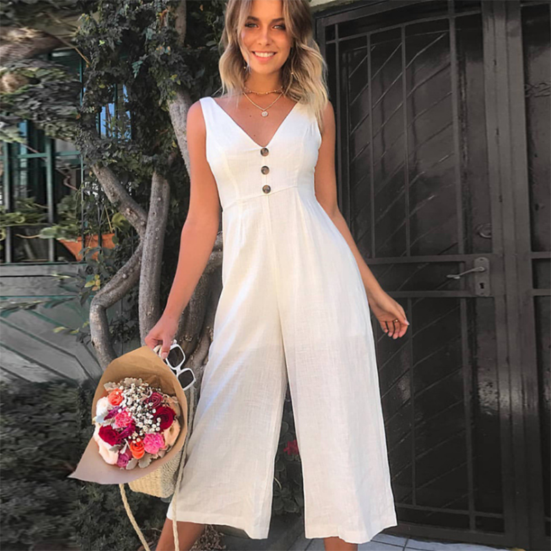 Female Long Jumpsuits Cotton Clothing Jumpsuit Casual Loose 2020 Summer Style Maxi V Neck Women Backless Size Rompers Pants Tank