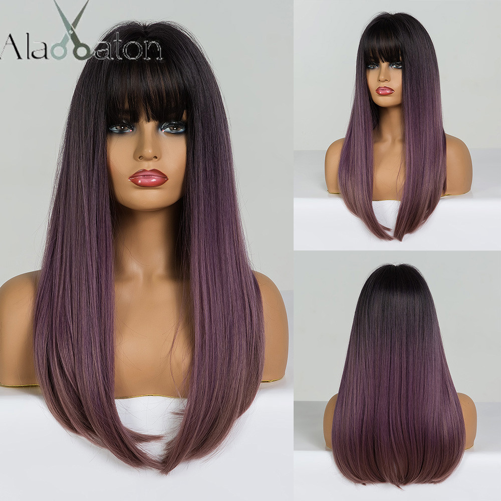 ALAN EATON Long Straight Wig With Bangs Black Lilac Purple Brown Ombre Synthetic Hair Wigs For Woman Heat Resistant Cosplay Wigs
