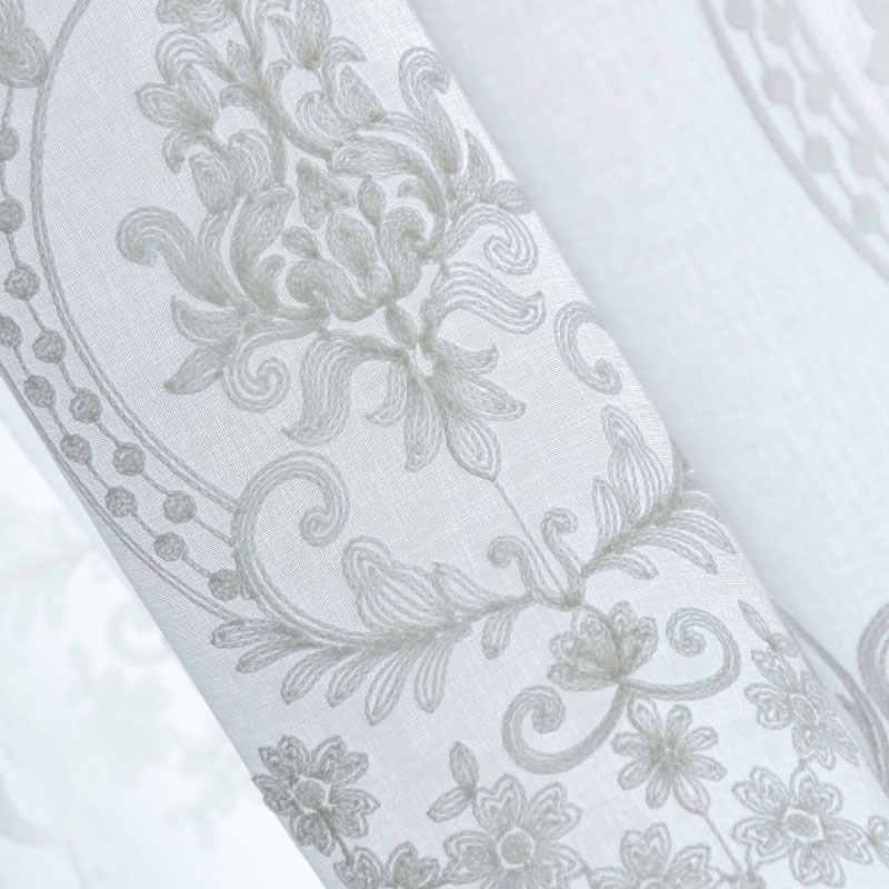 Wit Geborduurd Pure Tule Gordijnen Voor Woonkamer De Slaapkamer Europa Venster Screening Organza Gordijnen Stof Jaloezieën Gordijnen