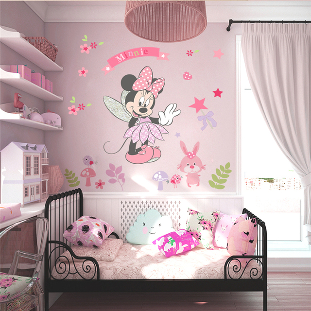 Disney Minnie Mouse Wall Stickers For Kids Baby Girls Rooms Nursery Home Decor Vinyl Cartoon Wall Decals Diy Mural Art 4