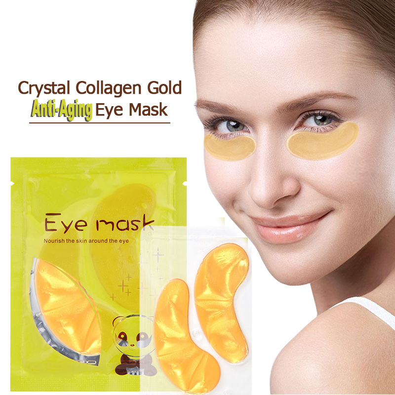 Crystal Collagen 24k Gold Powder Gold Eye Mask Anti Wrinkle Face Lasting Moisture Nourish Remove Dark Circles Eyes Care TSLM1
