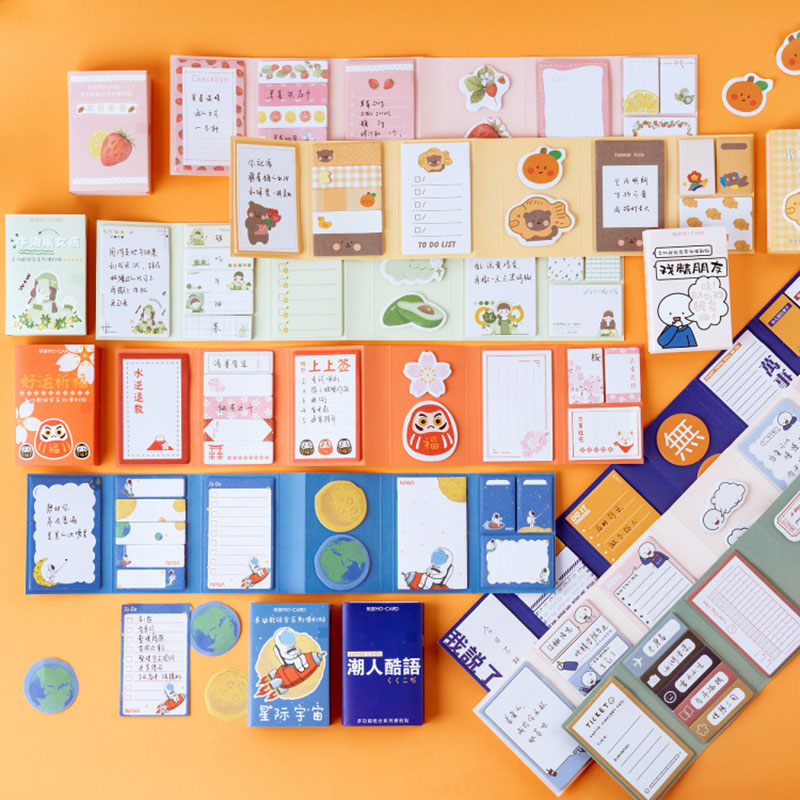 260 Sheets Cute Foldable Memo Pad Kawaii Avocado Notepad N Time Sticky Notes For Kids DIY Stationery School Office Supplies