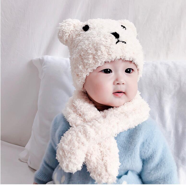Wool Knitted Cartoon Bear Baby Hair Hat Scarf Set Autumn  Winter Warm  New  Kids Boys Girls Scarf Cap Sleeve