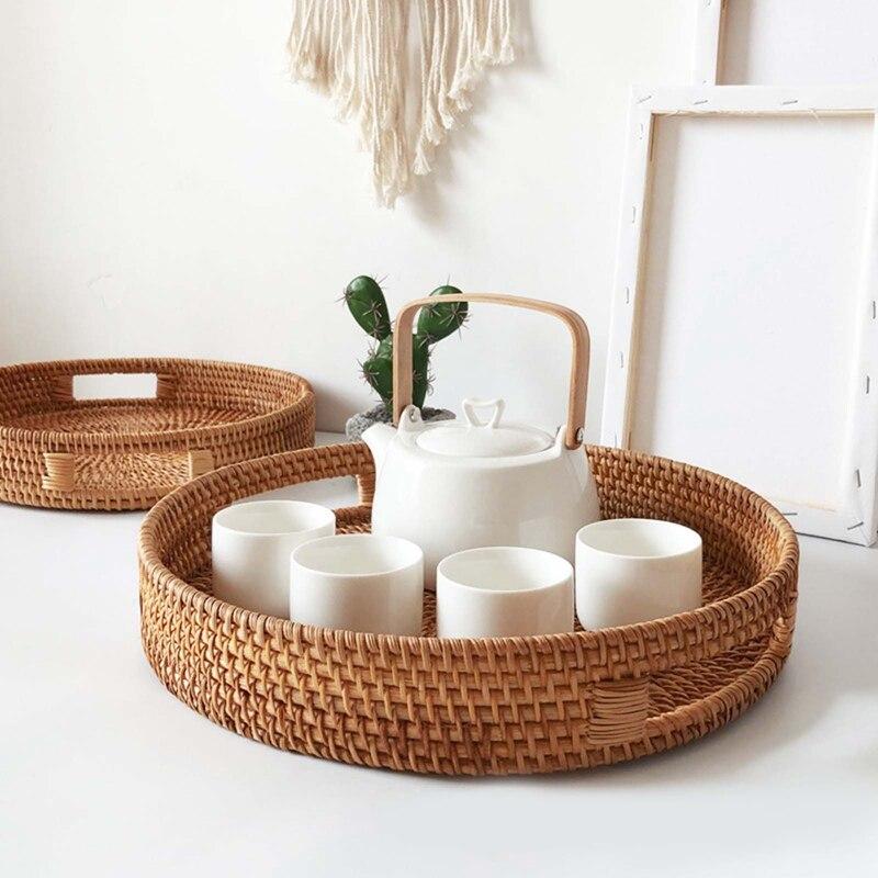 Tea-Storage-Tray Bread-Basket Cracker Essential-Oil-Tray Fruit-Plate Snack Handle Rattan