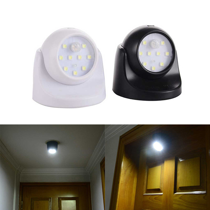 360 Degree Rotation 9 Lamp Beads LED Wall Lights Motion Sensor Night Light Wireless Auto PIR IR Infrared Detector Security Lamp