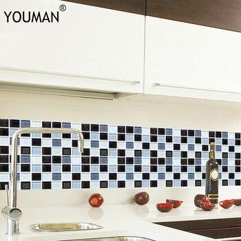 Adhesivo de pared antiaceite de PVC, impermeable, autoadhesivo, para muebles, cocina, baño, DIY, adhesivo para azulejos, 6 piezas, Mural, azulejo, decoración del hogar