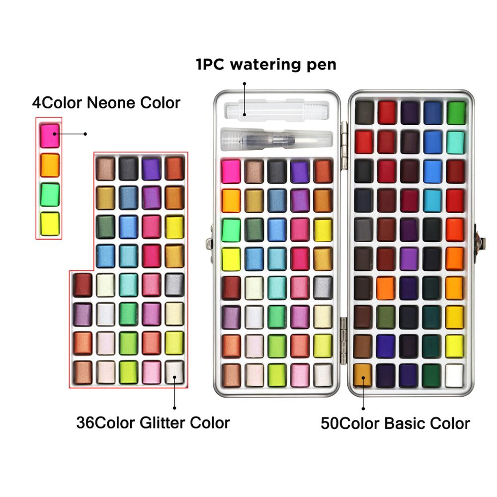 SeamiArt 72/90Color Solid Watercolor Set Basic Neone Glitter Watercolor Paint for Drawing Art Paint Supplies 2