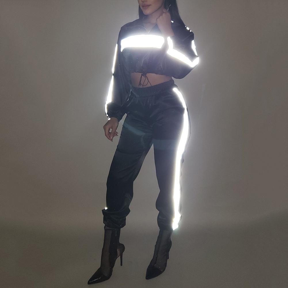 Two Piece Set Women Sexy Nightclub Wind Fluorescent Reflective Long Sleeve Stitching Navel Top Pants Sports Set