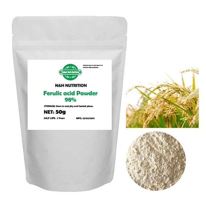 High Quality Pure Nature Cosmetic Grade 98% Ferulic Acid Powder Rice Bran Extract Skin Care Whitening Antioxidati Sunscreen