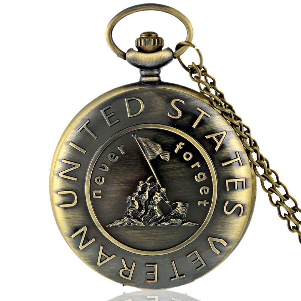 Vintage US Veteran Army Bronze Pocket Watch Quartz Necklace Pendant Antique Gift