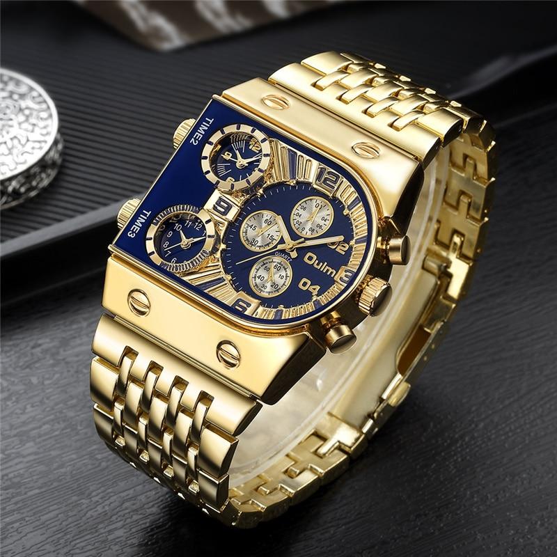 2020 Brand New Oulm Quartz Watches Men Military Waterproof Wristwatch Luxury Gold Stainless Steel Male Watch Relogio Masculino