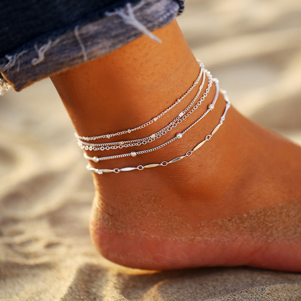 17MILE 5PCS/Set 2020 Shiny Beach Anklets Gift For Women Fashion Multilayes Silver Color Anklet Bracelet Beach Charm Jewelry