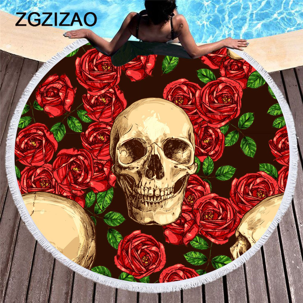 Rock Shantou Printed Beach Towel Summer Round Large Microfiber Bath Towel for Adults Yoga Mats Blankets Home Decoration 150cm