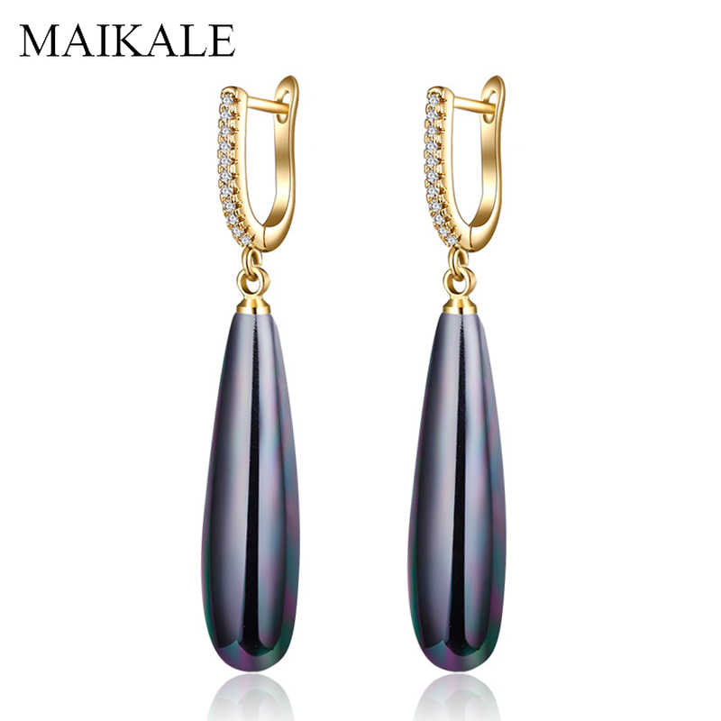 MAIKALE Simple Drop Earrings With Pearl AAA Cubic Zirconia Plated Gold Silver Water Drop Shape Korean Earrings For Women To Gift